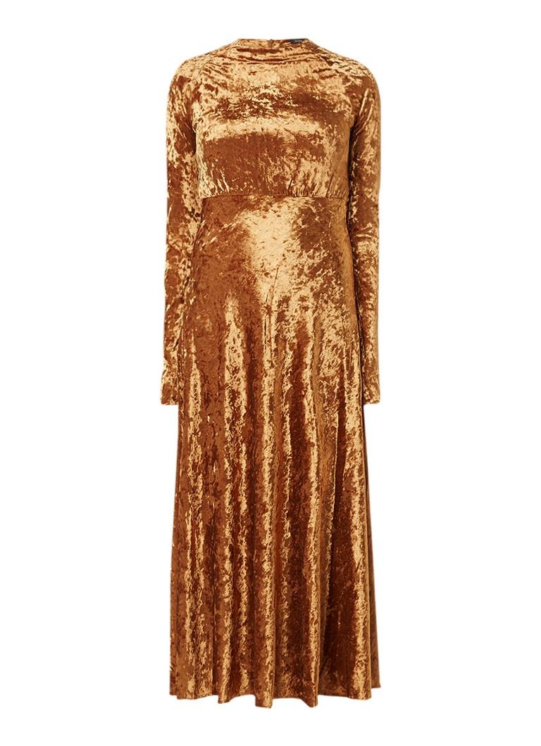 Maje Roemi maxi-jurk van fluweel met zijsplit goud