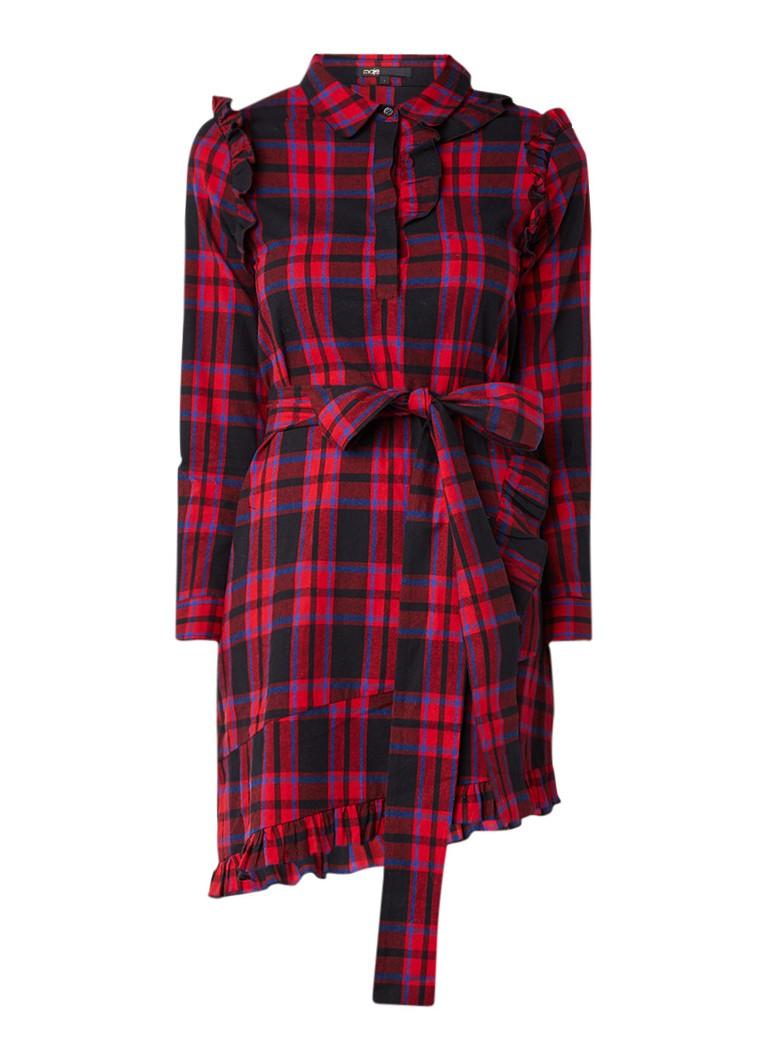 Maje Carrea blousejurk met ruitdessin en strikceintuur rood