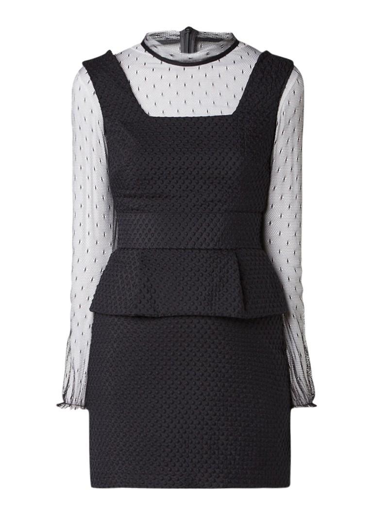 Maje Rosie jurk met peplum en semi-transparante ondertop zwart