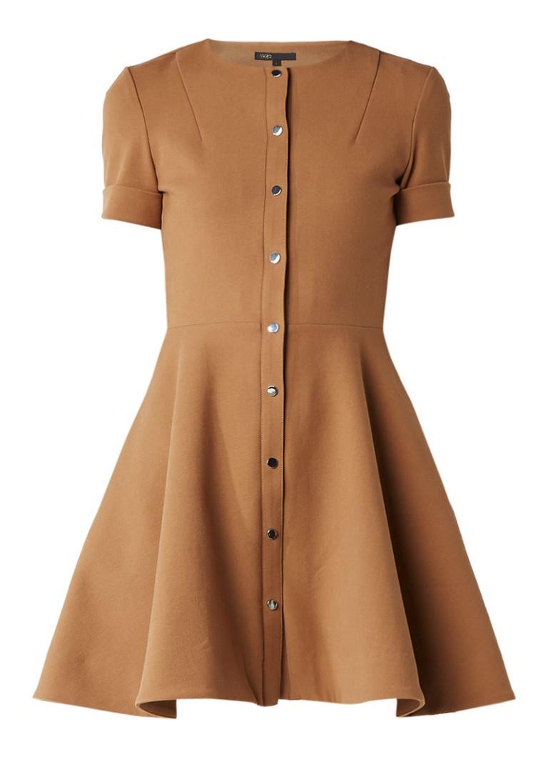 Maje Rimello A-lijn jurk met knoopsluiting camel