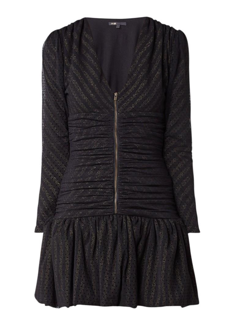 Maje Ralone jurk met verlaagde taille en glansdraad zwart
