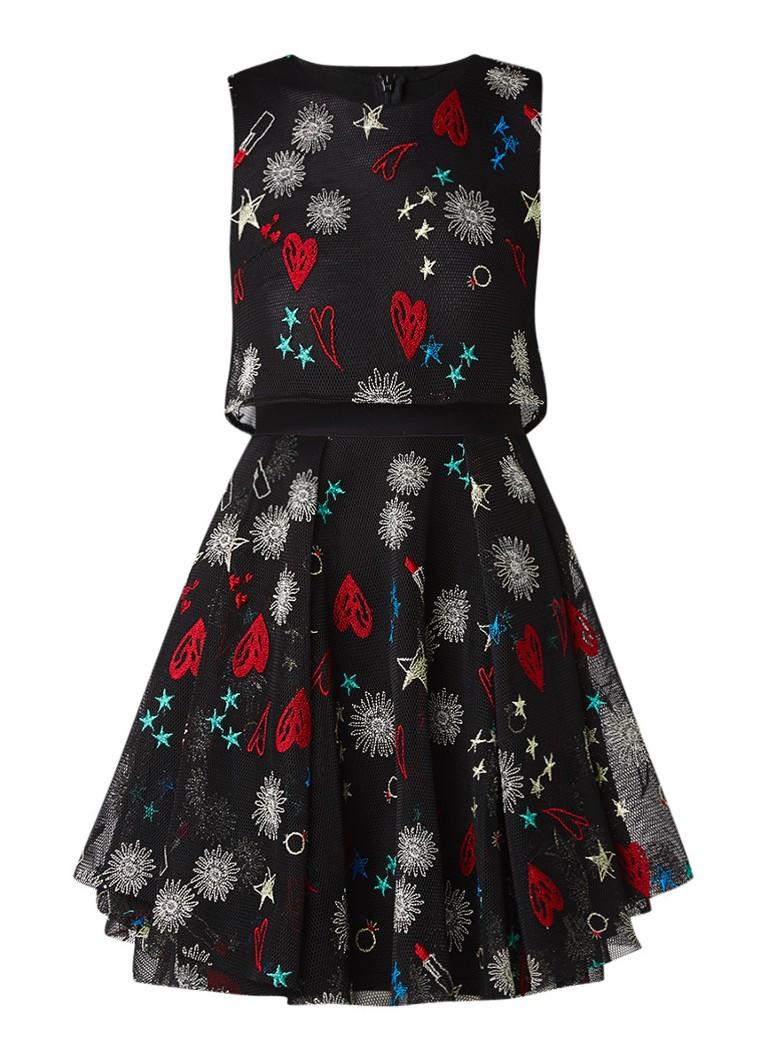 Maje Rachel A-lijn jurk met overlay en borduring zwart