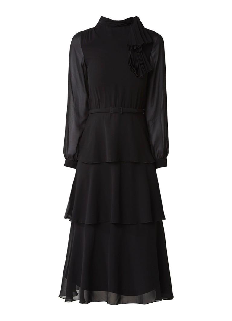 Maje Resila gelaagde midi-jurk met ceintuur en plooidetail zwart