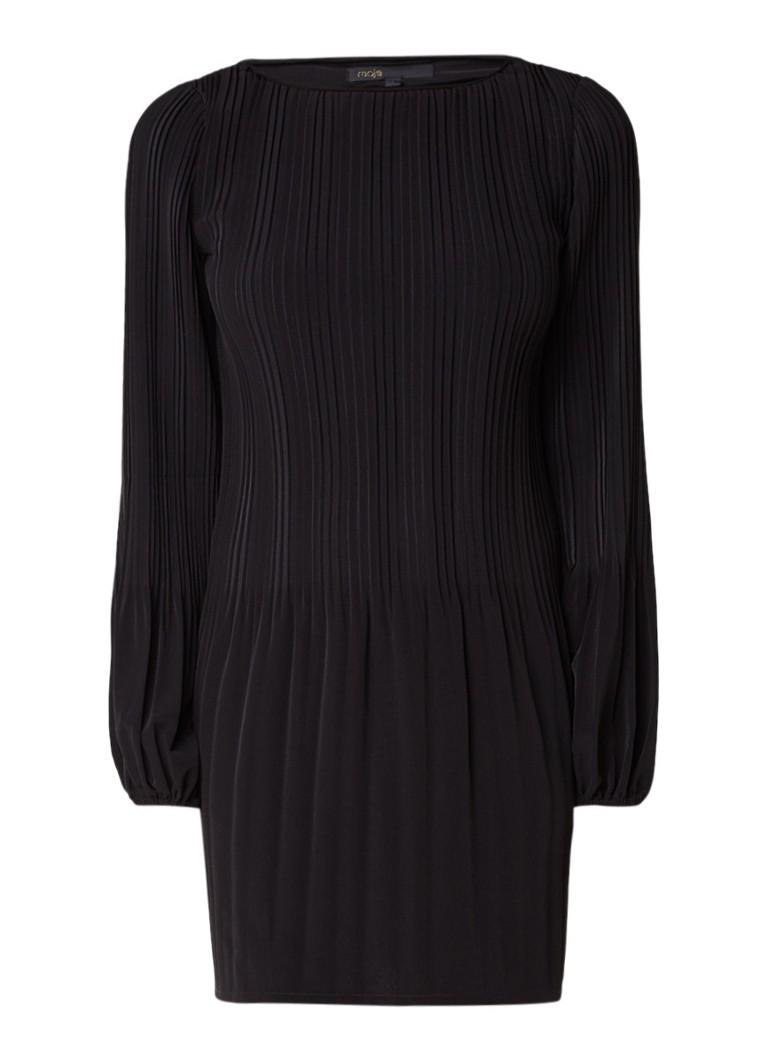 Maje Rockin A-lijn jurk met plissé en lange mouw lichtroze