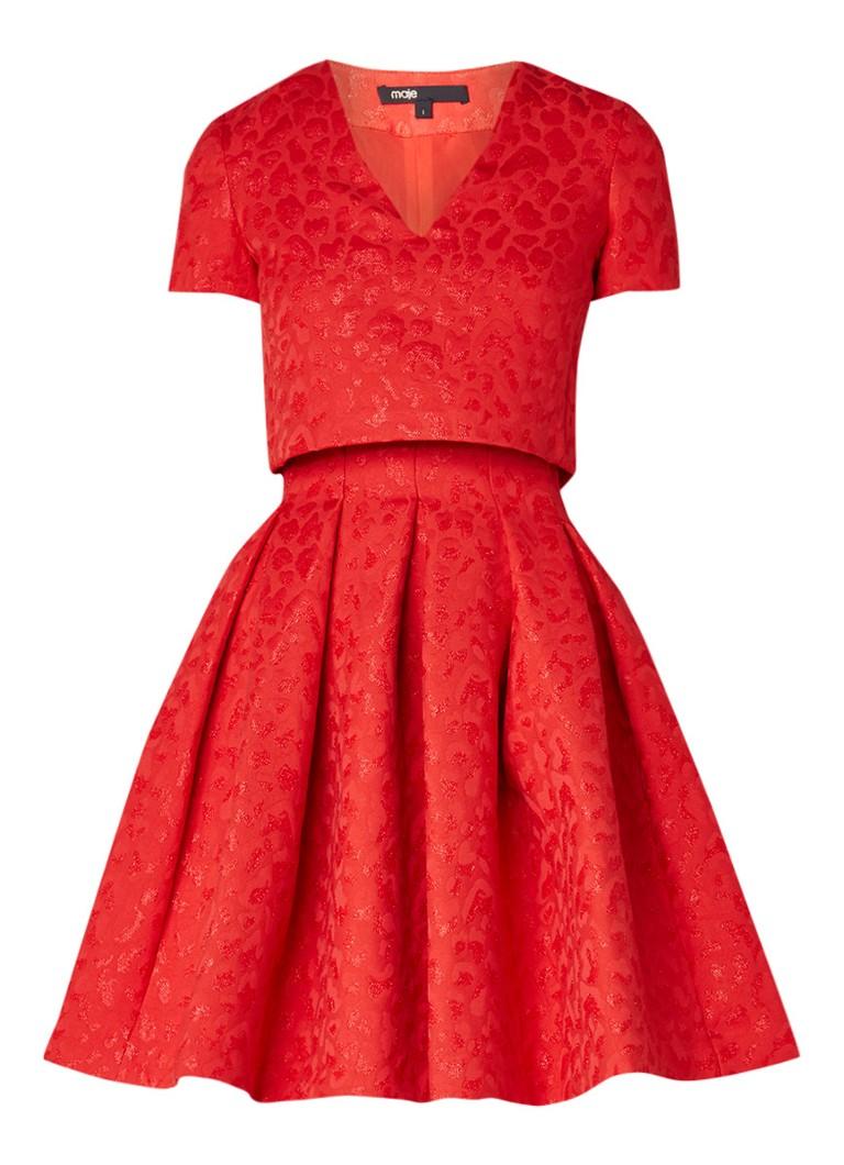 Maje Roleo A-lijn jurk met jacquarddessin en overlay rood