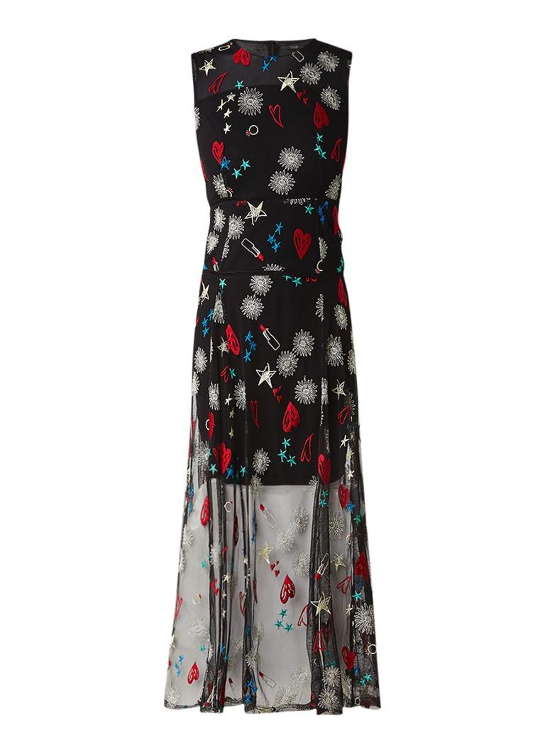 Maje Rosia maxi-jurk met mesh en borduring zwart