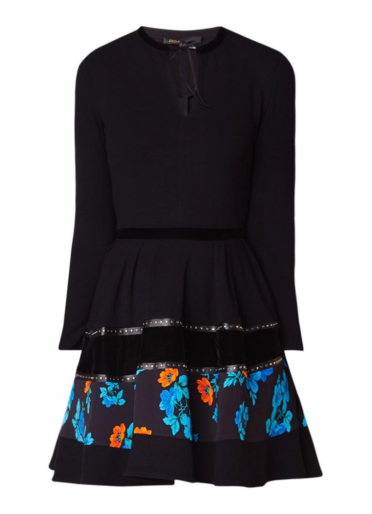 Maje Rafa A-lijn jurk met fluwelen details en studs zwart