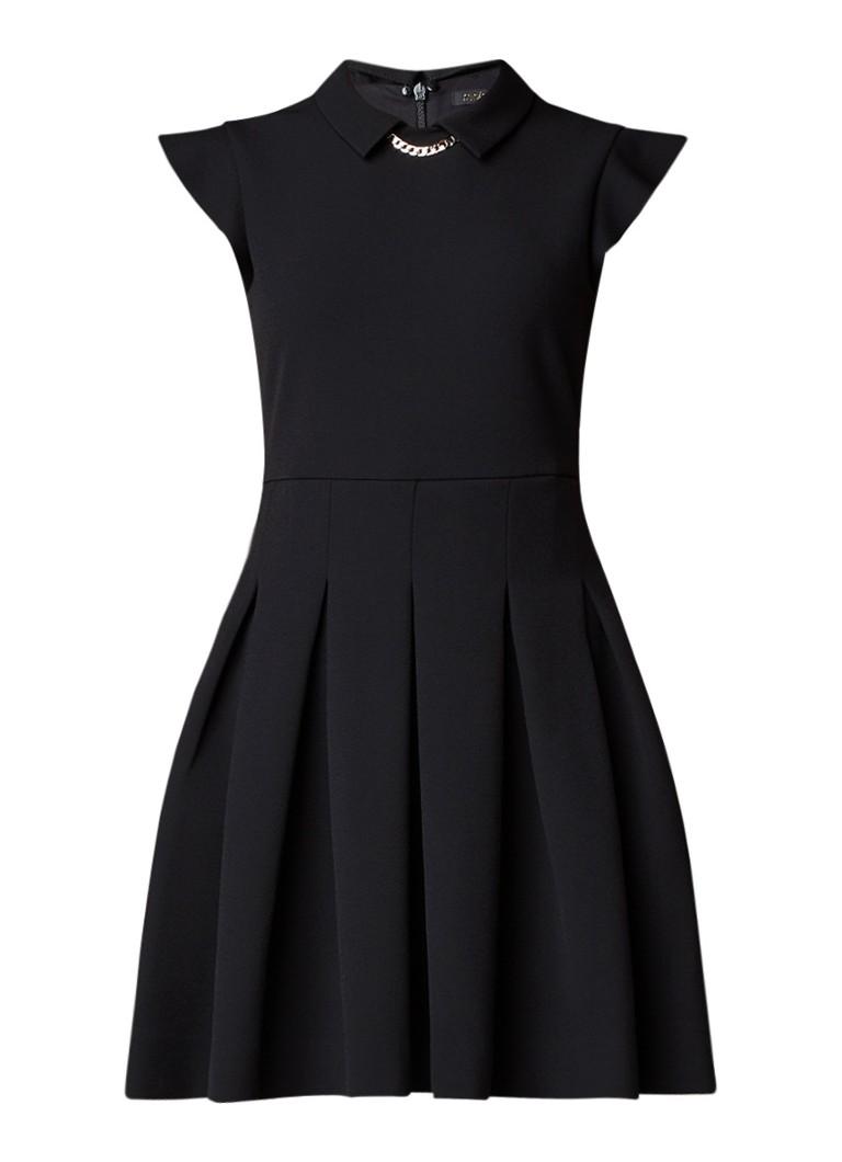 Maje Rousta A-lijn jurk met kraag en kapmouw zwart