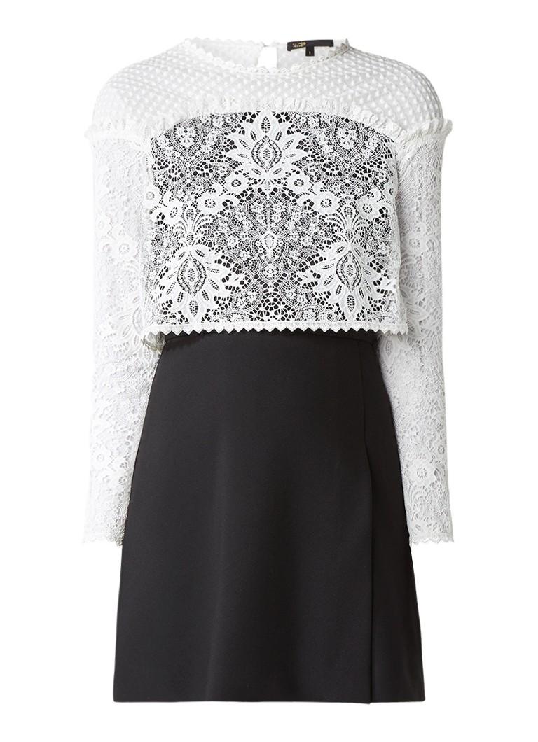 Maje Relim jurk met split en overlay van kant wit