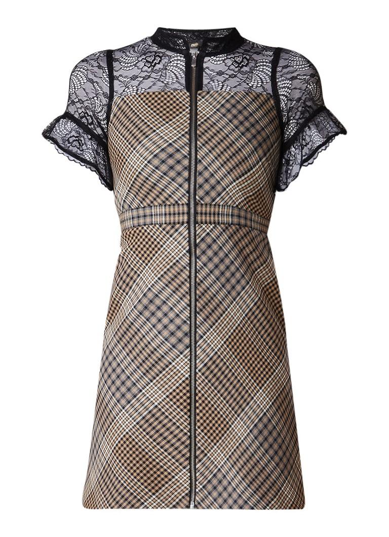 Maje Rhodin mini-jurk met inzet van kant en ruitdessin bruin