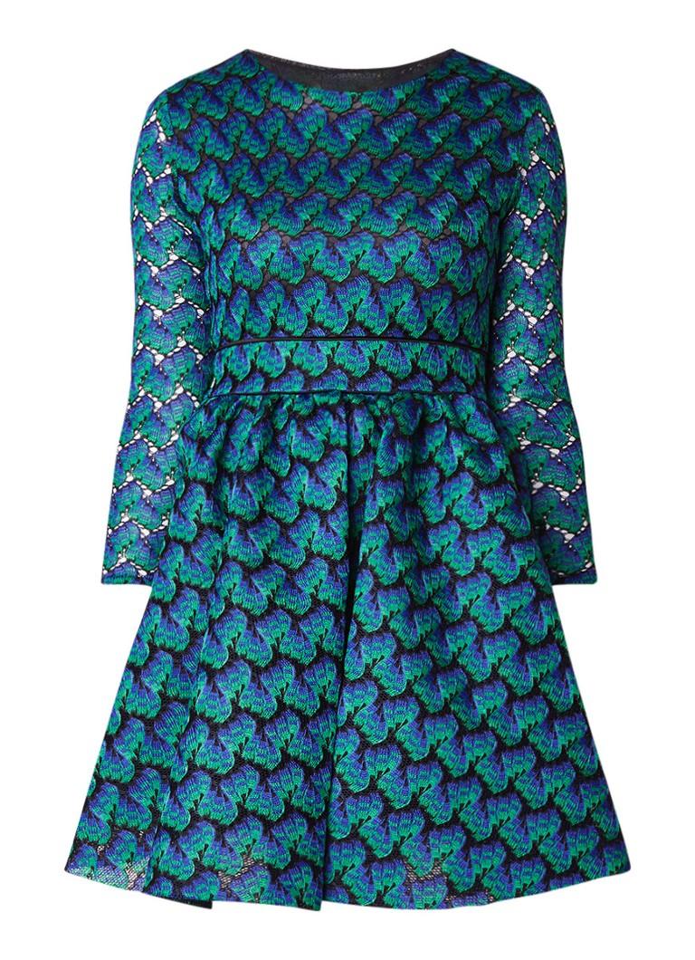 Maje Royani jurk met dessin en steekzakken blauw