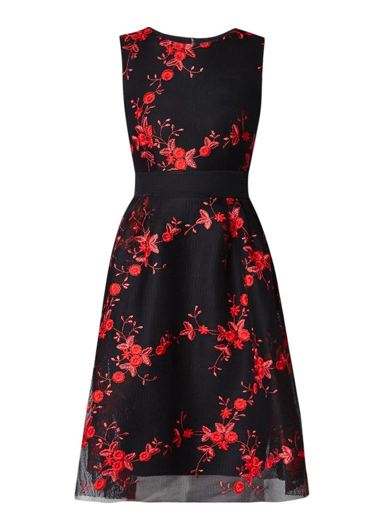 Maje Rudio A-lijn jurk met bloemenborduring zwart