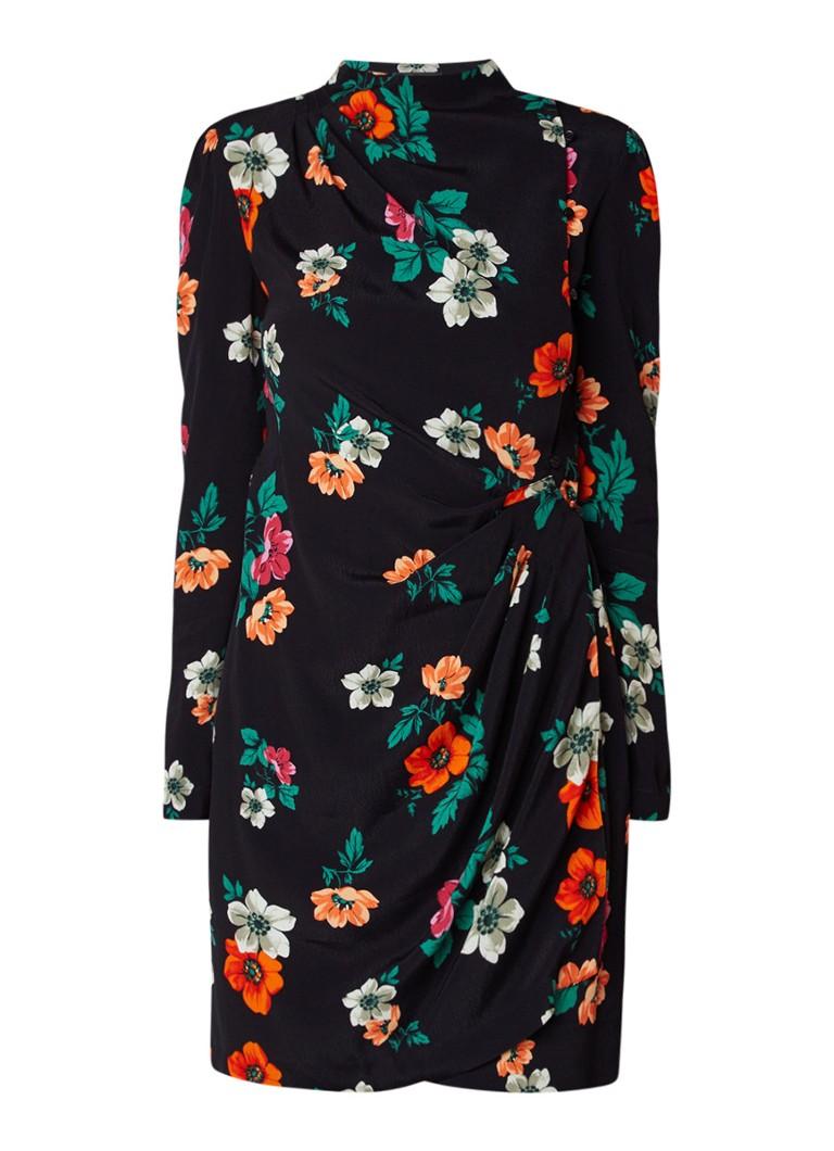 Maje Ripiti mini-jurk met overslag en bloemendessin zwart