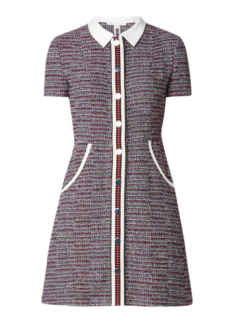 Maje Renatelle jurk van tweed met gestreepte bies grijsmele