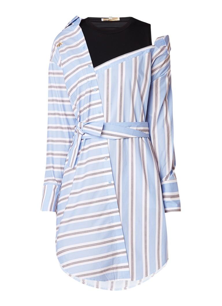Maje Riavi blousejurk met asymmetrische halslijn lichtblauw