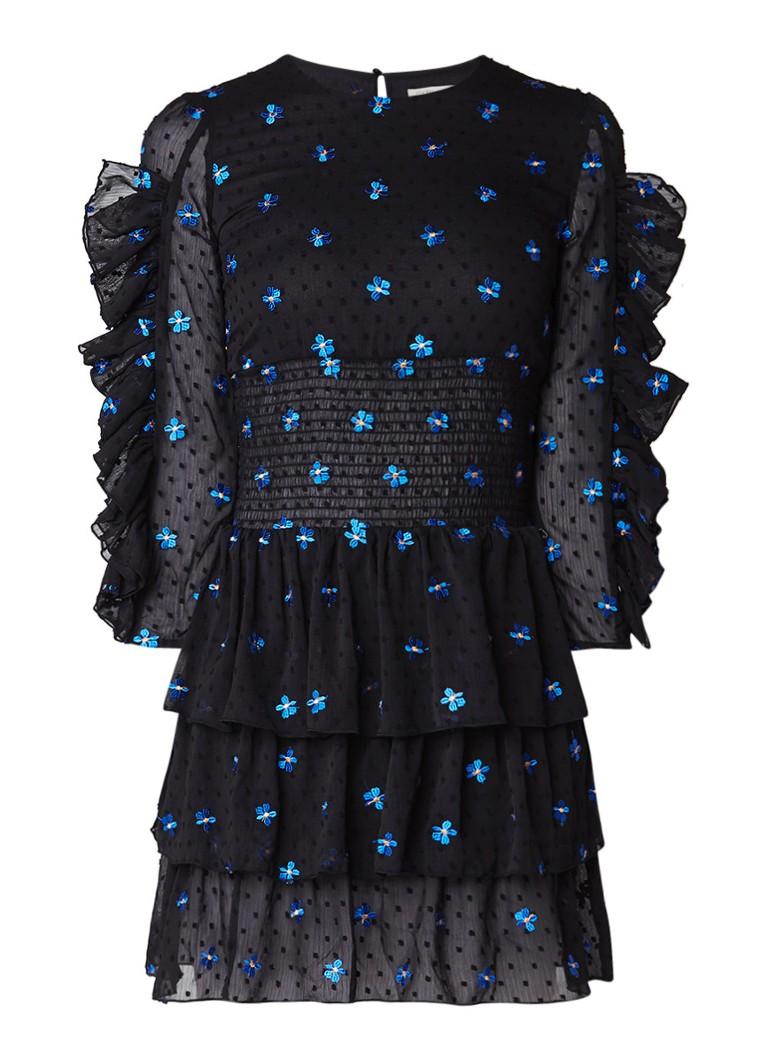 Maje Rocko A-lijn jurk met volant en bloemborduring zwart