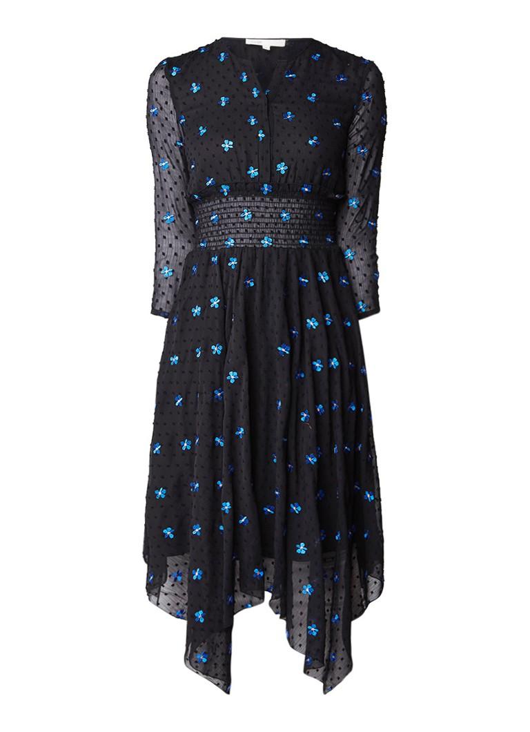 Maje Raiette A-lijn jurk met bloemenborduring zwart