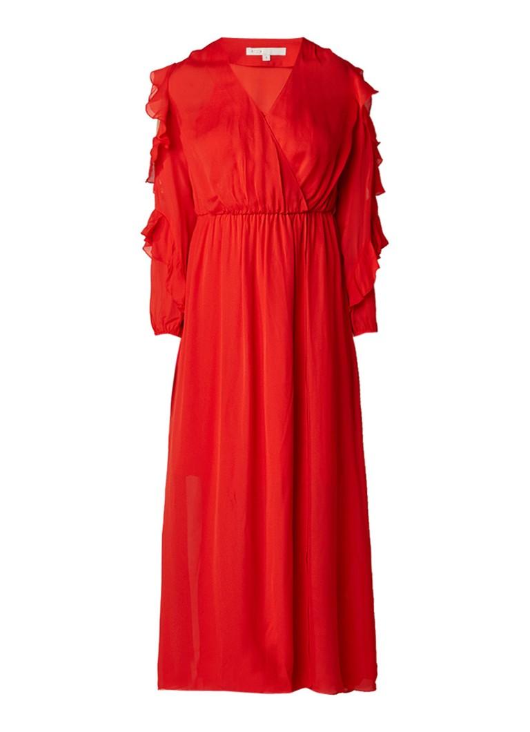 Maje Remy cold shoulder jurk met ruches rood