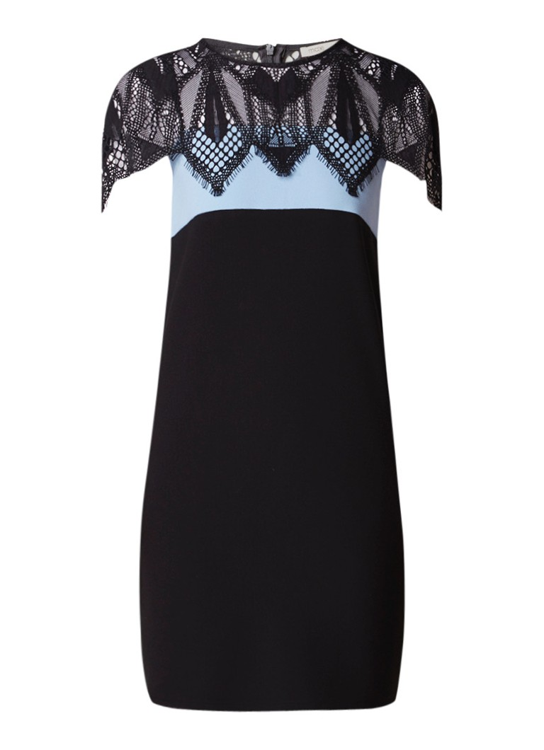 Maje Rocaille mini-jurk met inzet van kant lichtblauw