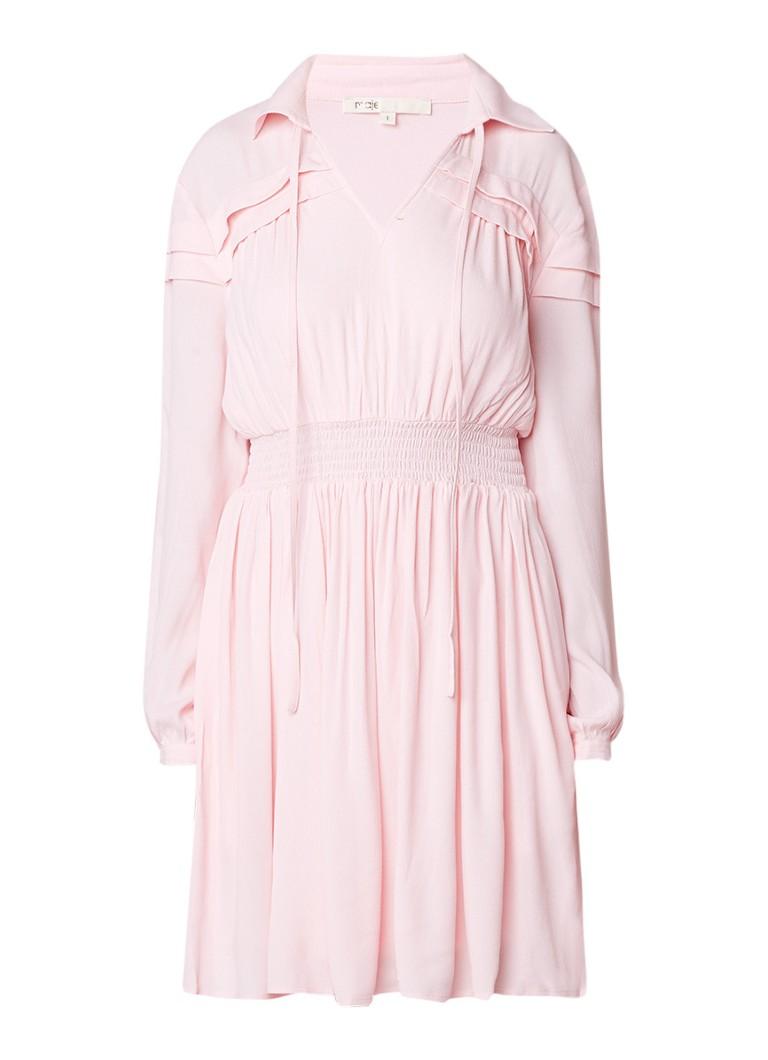 Maje Ruben A-lijn jurk met plooien lichtroze