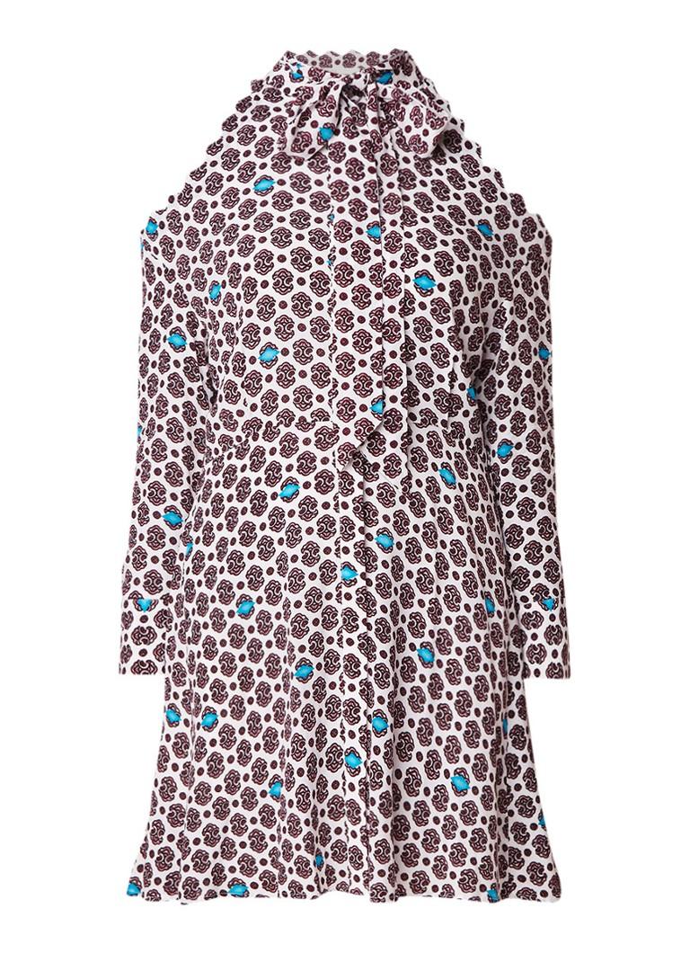 Maje Ralinka blousejurk van satijn met dessin en cold shoulder creme