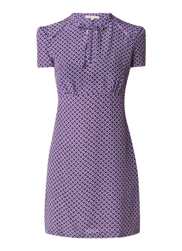 Maje Tuniekjurk van zijde met bloemendessin en strikkraag paars