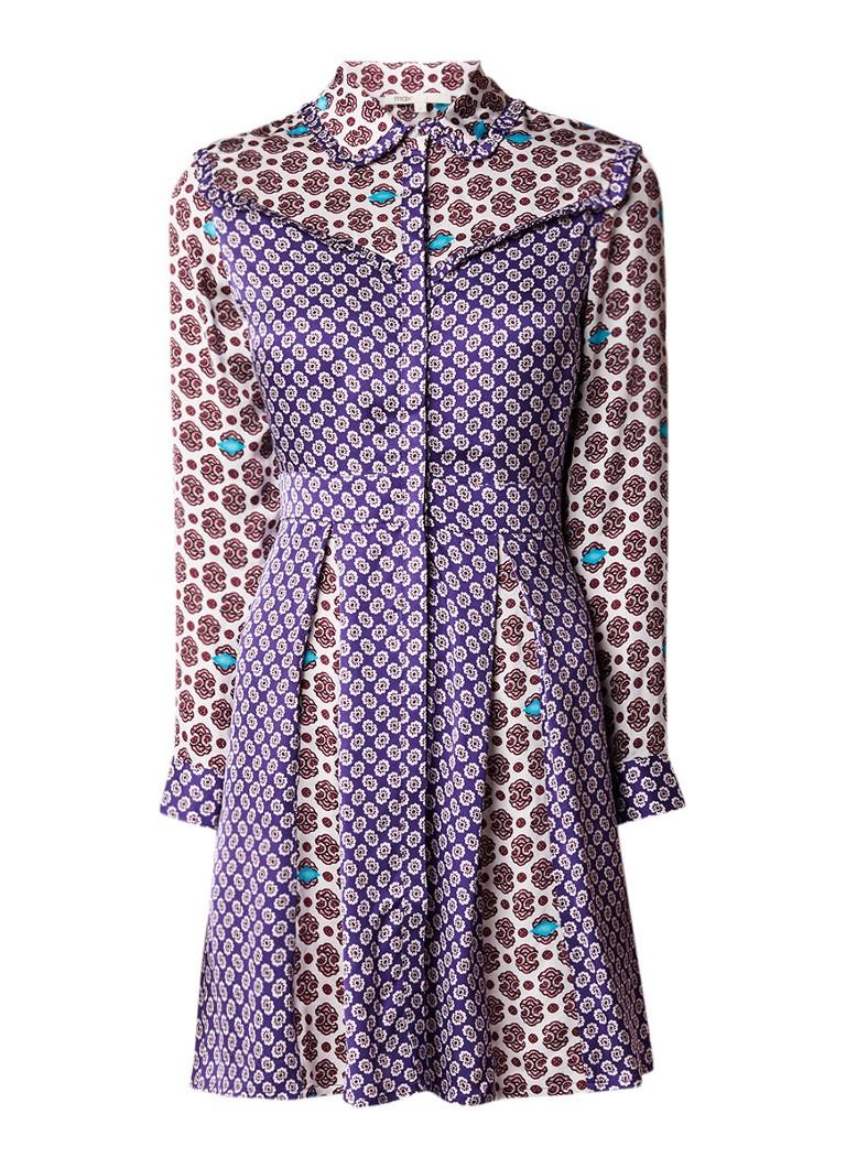 Maje Reed blousejurk van satijn met dessin paars