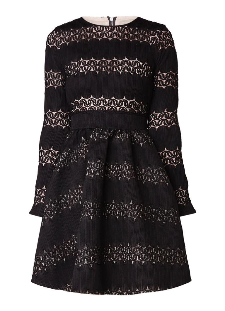Maje Relane A-lijn jurk met opengewerkt dessin zwart