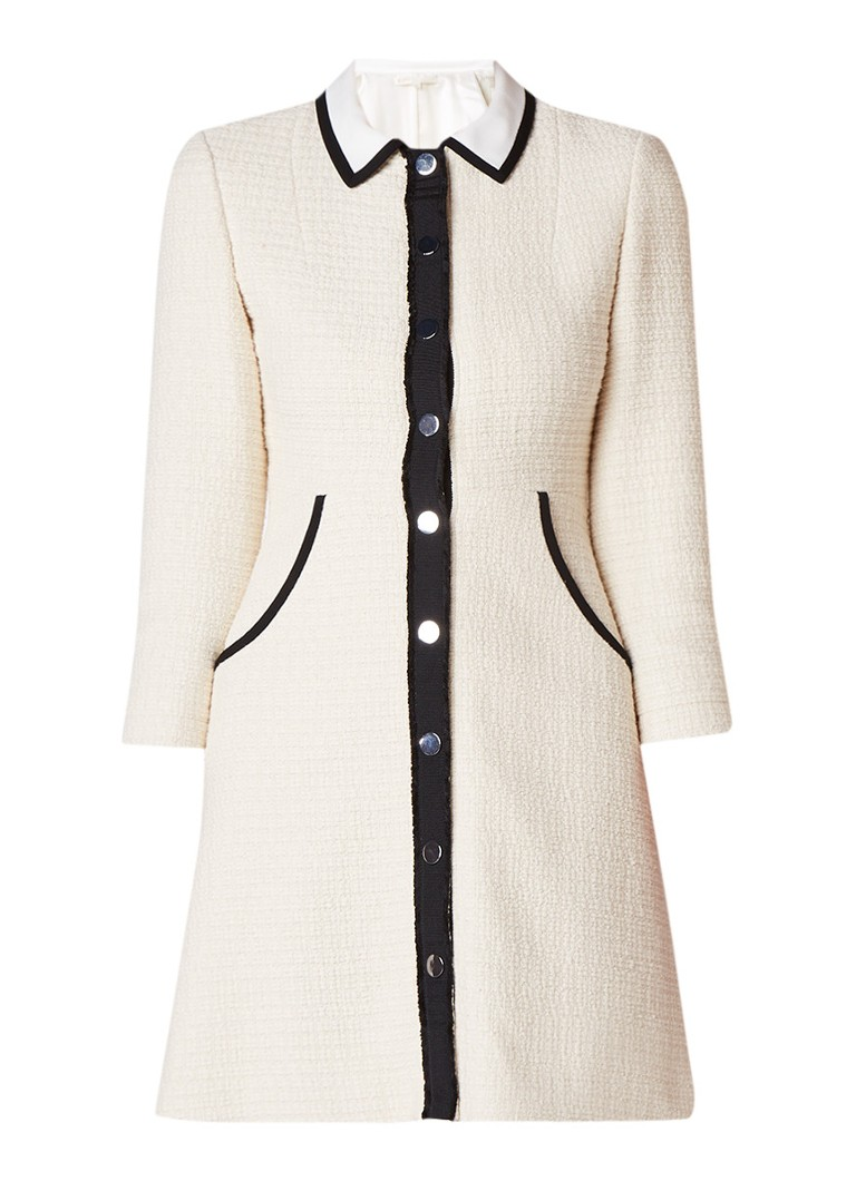 Maje Renalo tweed jurk met contrastbies gebroken wit
