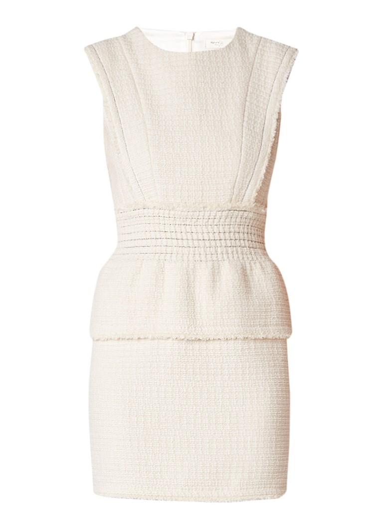 Maje Rosay bouclé mini-jurk met peplum gebroken wit