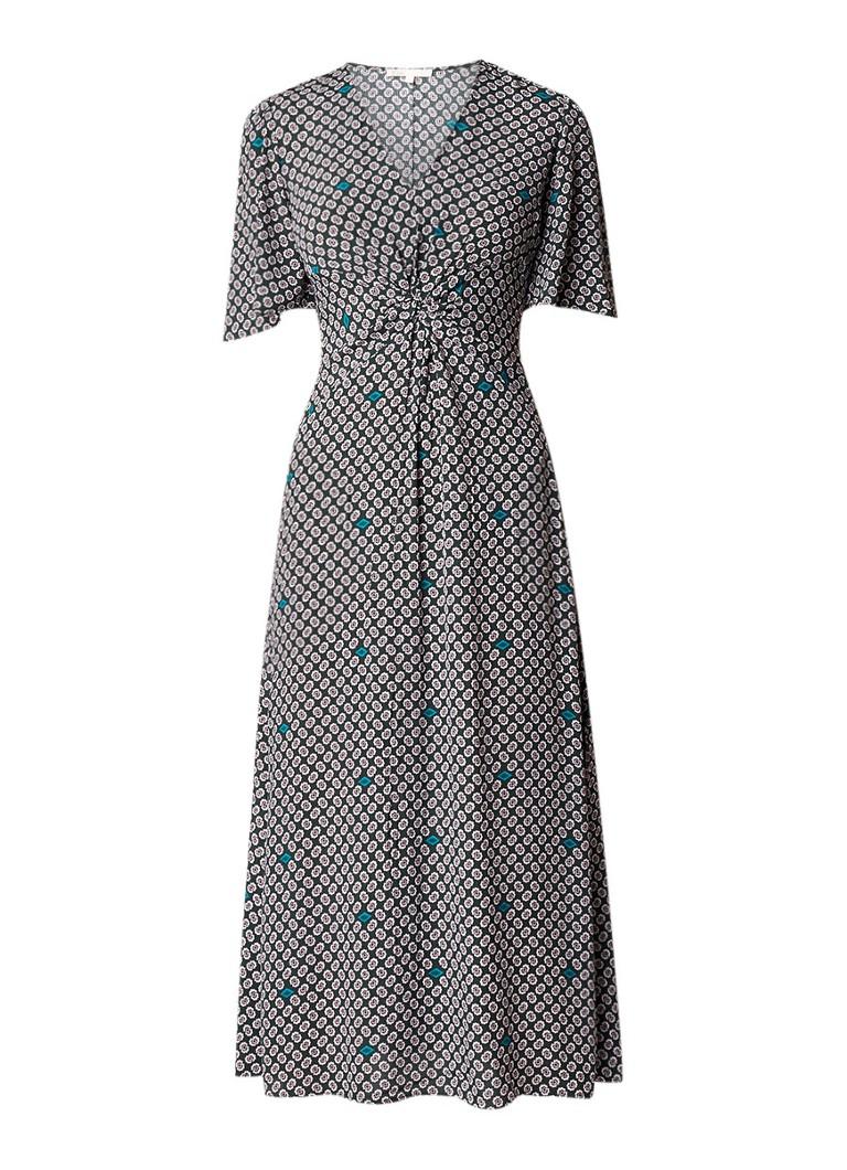 Maje Renoua midi-jurk met dessin en zijsplit donkergroen