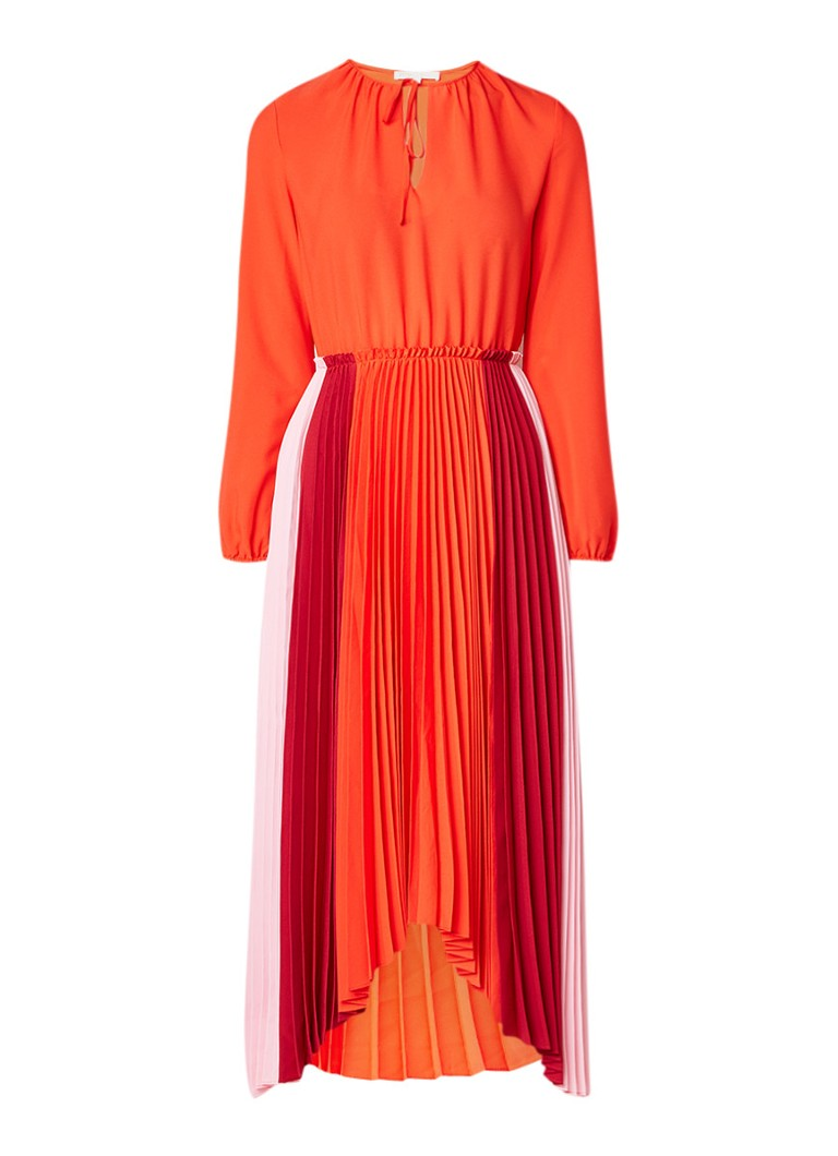 Maje Reona maxi-jurk met plissé en colour blocking oranjerood