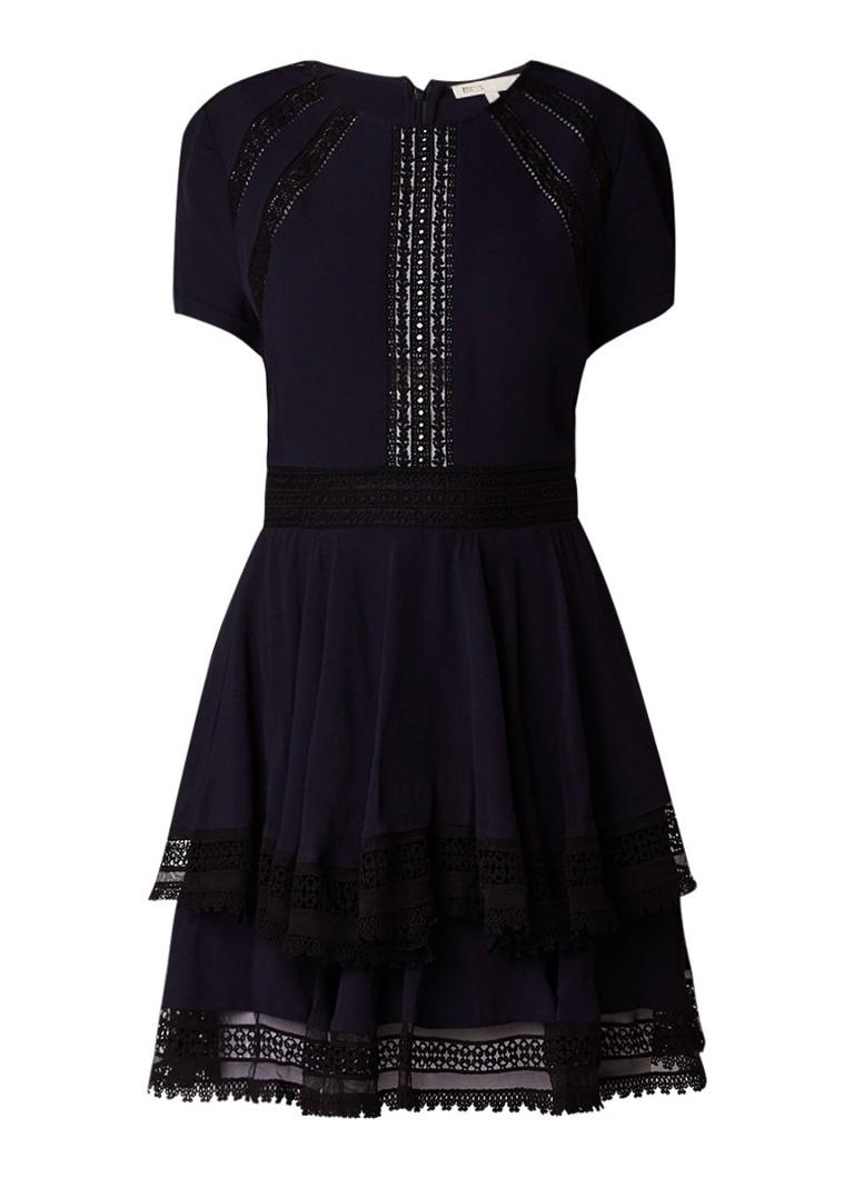 Maje Raglia A-lijn jurk met broderie donkerblauw
