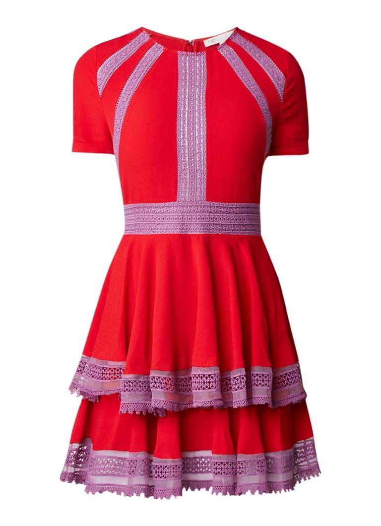 Maje Raglia A-lijn jurk met broderie rood