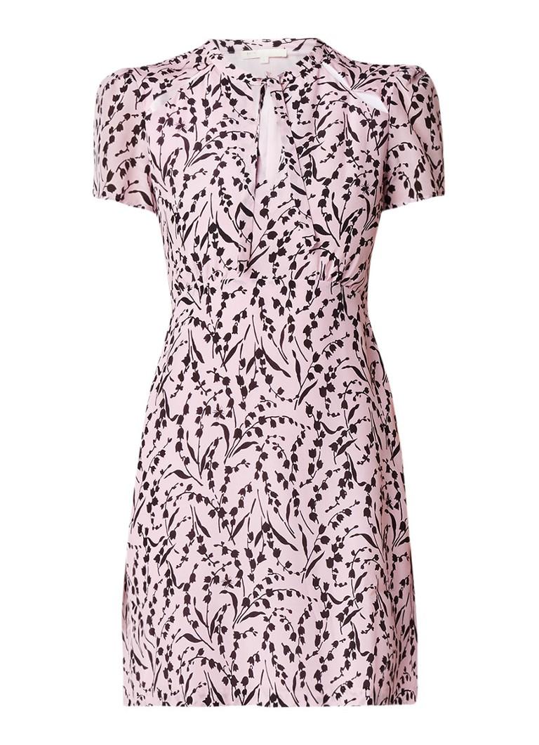 Maje Rambao jurk van zijde met abstracte bloemenprint lichtroze