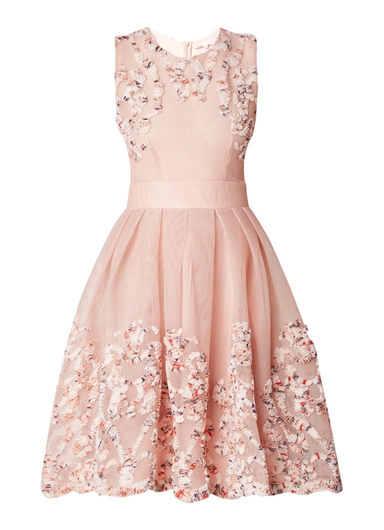 Maje Reda A-lijn jurk van mesh met applicatie lichtroze