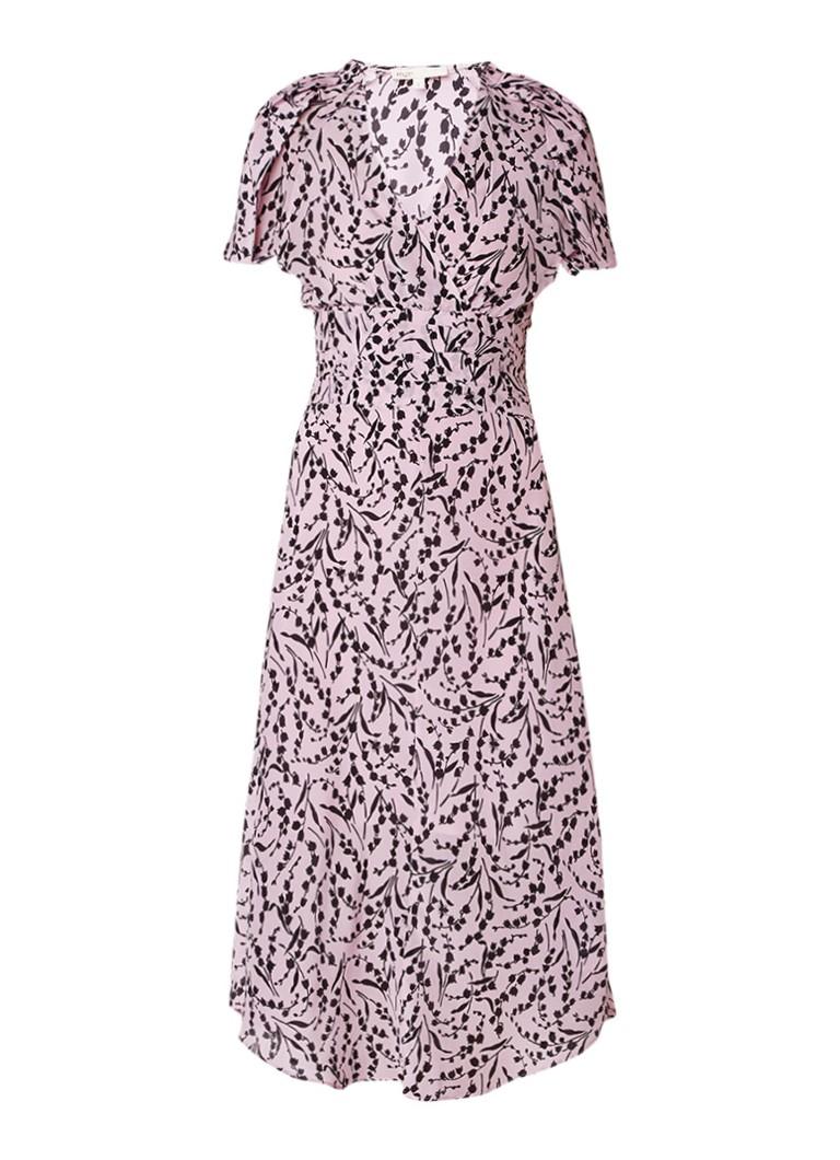 Maje Rivara maxi-jurk van zijde in bloemendessin lichtroze