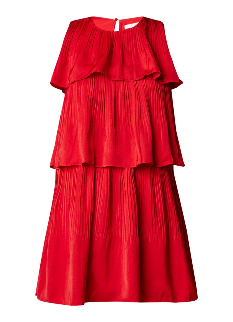 Maje Rockano gelaagde A-lijn jurk met plissé rood