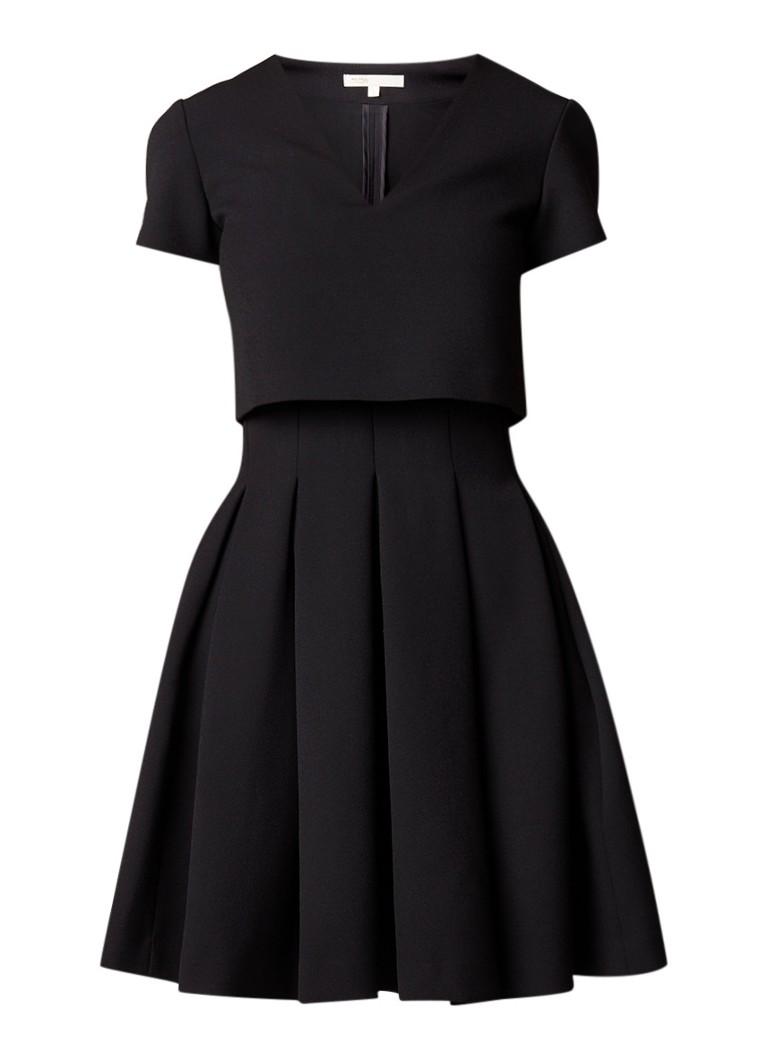 Maje Rozane A-lijn jurk met overlay zwart