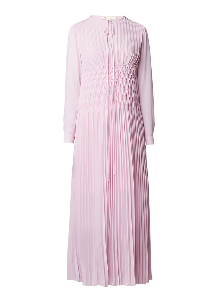 Maje Rocket maxi jurk van crêpe met plissé oudroze