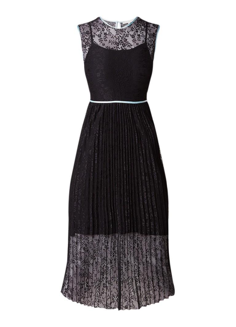 Maje Rabila tuniekjurk van kant met contrastbies zwart