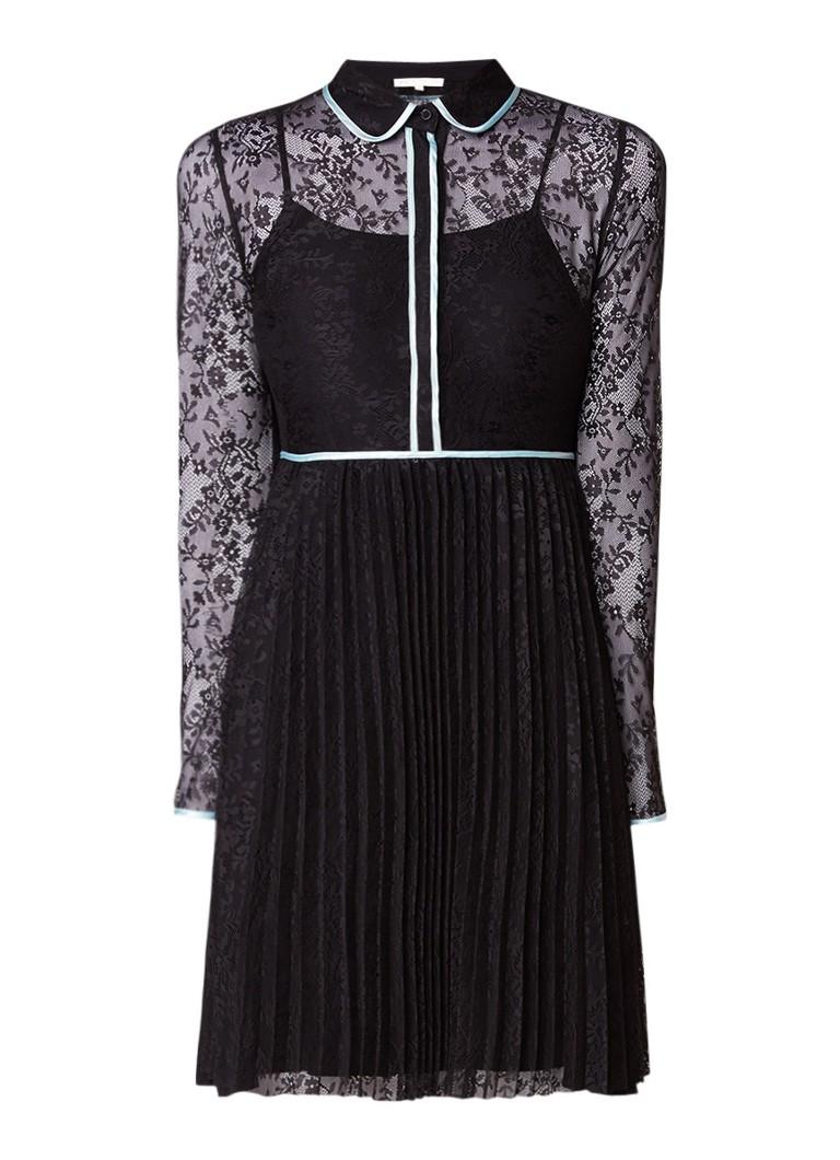 Maje Rabilo jurk van kant met plissé en contrastbies zwart
