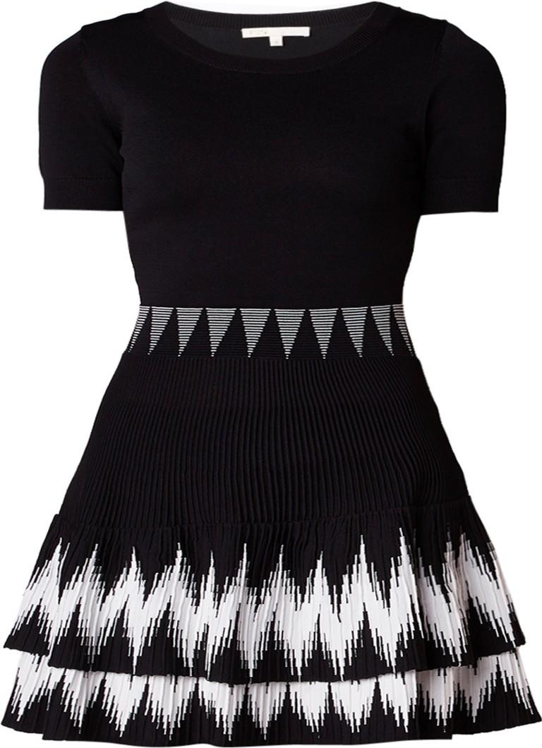 Maje Ralia A-lijn jurk met grafisch dessin zwart