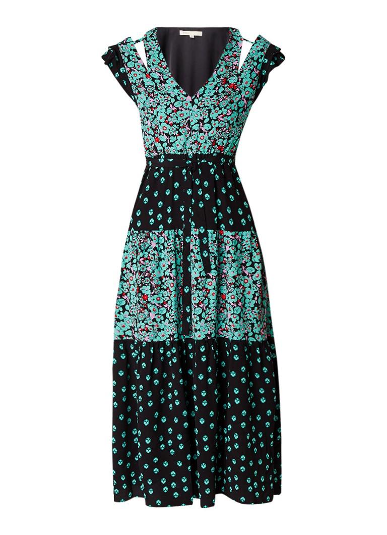 Maje Renoli maxi-jurk met bloemenprint en cut-outs groen