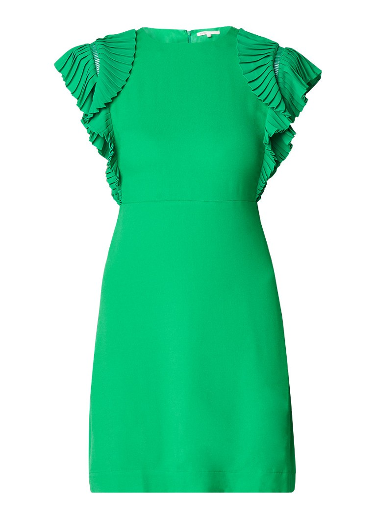 Maje Rolana mini-jurk van crêpe met volant groen