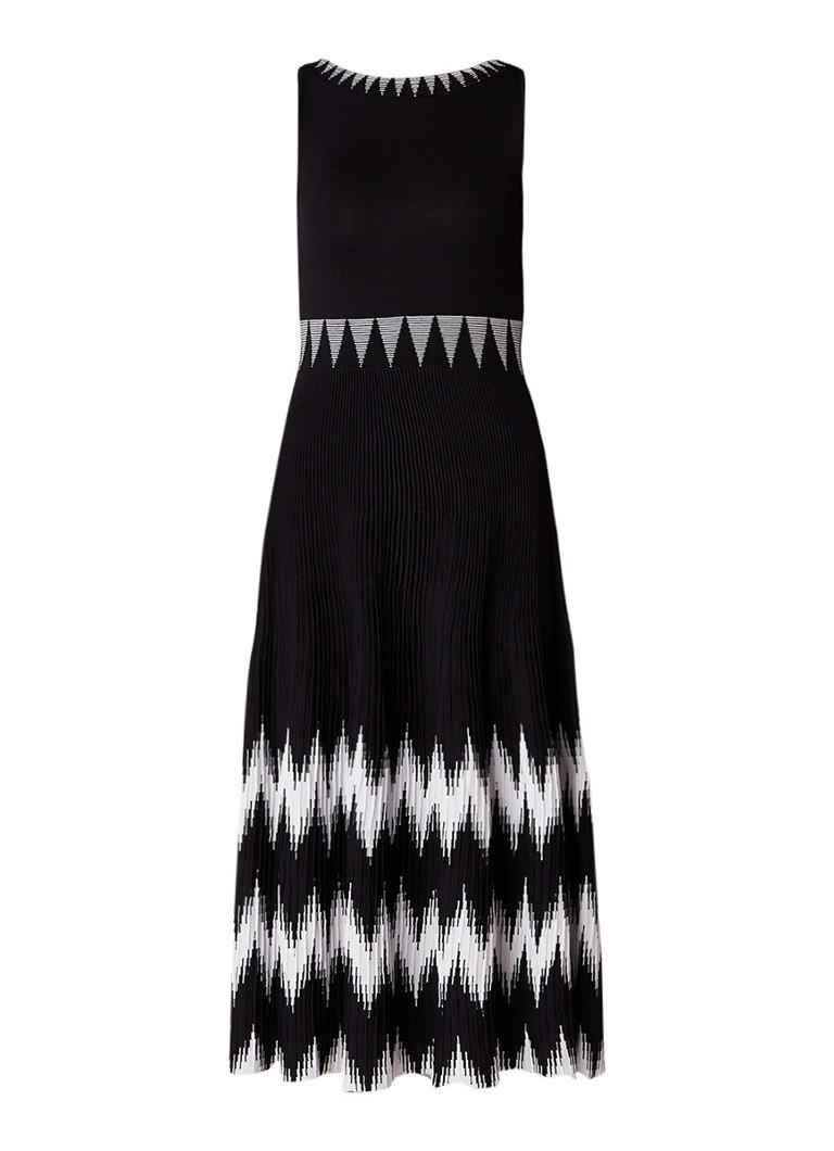 Maje Ruche ribgebreide A-lijn jurk met contrasterende details zwart