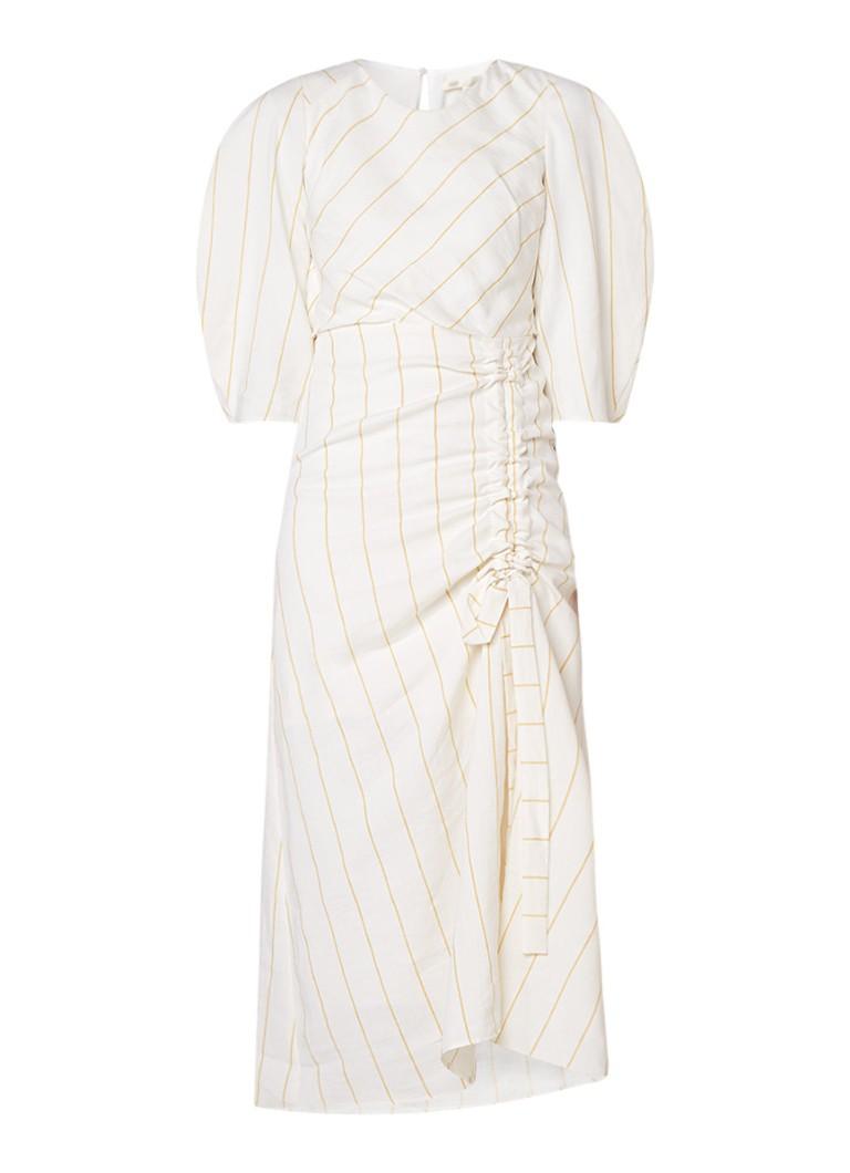 Maje Maxi-jurk in linnenblend met pofmouw en streepdessin gebroken wit