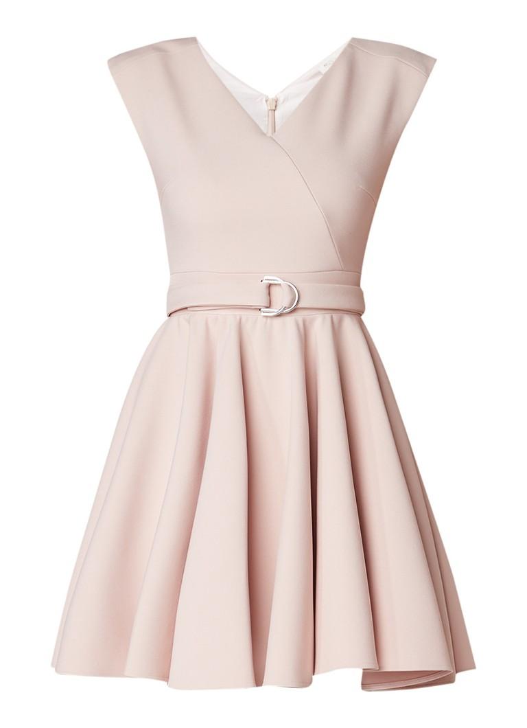 Maje Rimae mini A-lijn jurk met ceintuur naturel