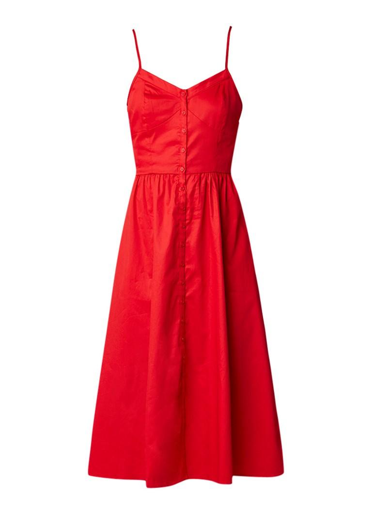 Maje Rimana jurk met bijbehorend cropped t-shirt rood