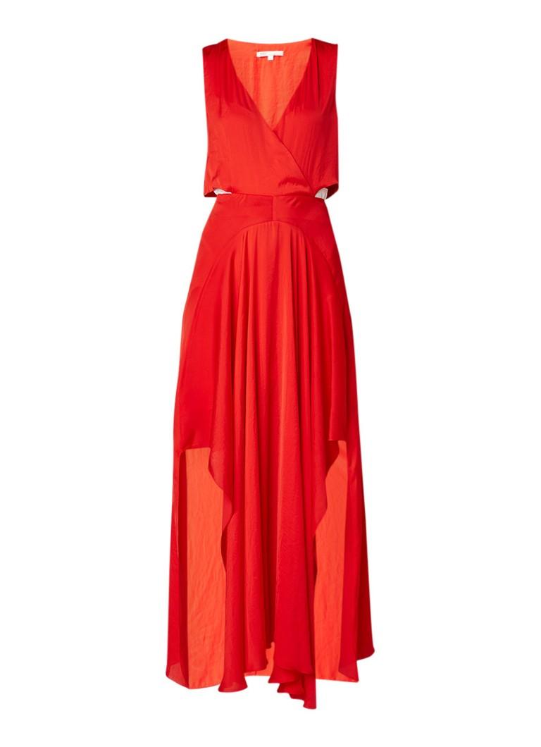 Maje Renile maxi-jurk van satijn met cut-out detail vuurrood